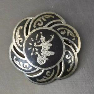 Vintage 925 Silver Brooch/ Pin. E6